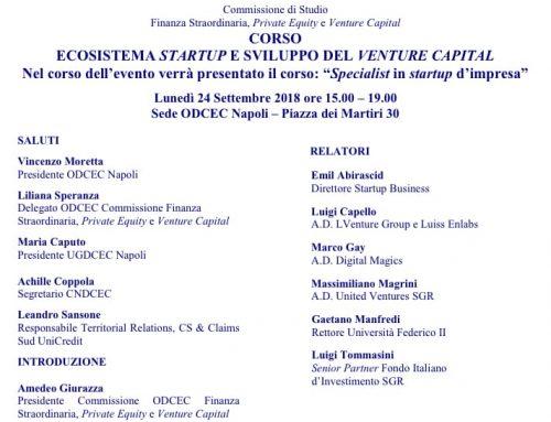 Corso: Ecosistema startup e sviluppo del venture capital