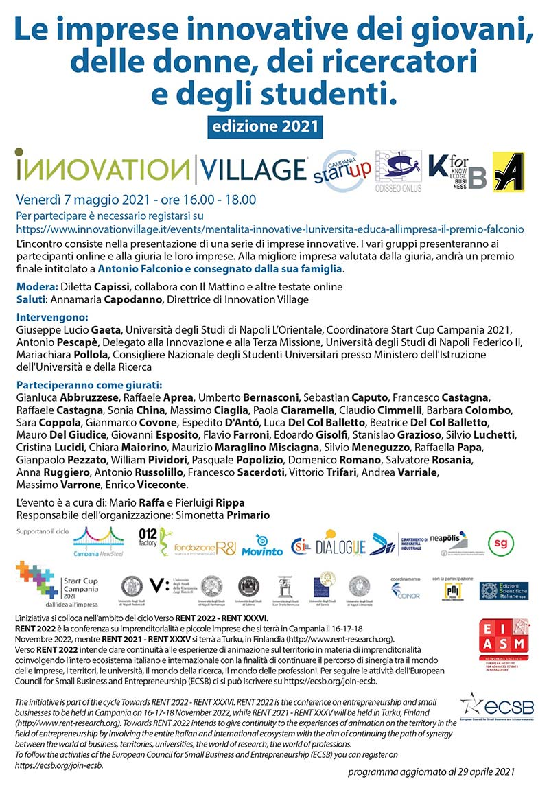 premio falconio 7 maggio 2021 innovation village